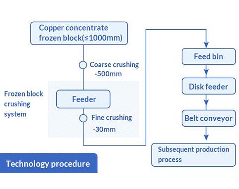 Frozen block crushing system